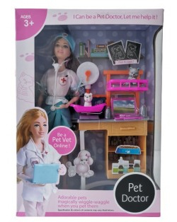 SET DE BARBIE VETERINARIA - VESTIDO BLANCO